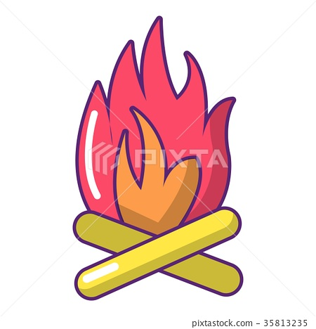 Campfire icon, cartoon style 35813235