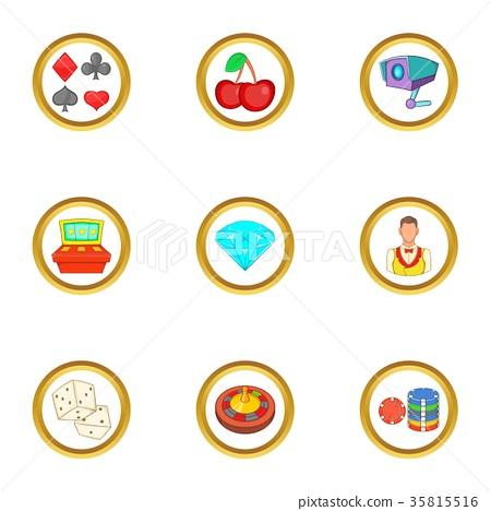 Casino things icons set, cartoon style 35815516
