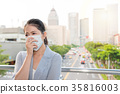 charming office lady feels sick and allergy 35816003