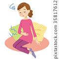 생리통으로 고생하는 여성 PMS 35817612