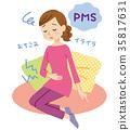 생리통으로 고생하는 여성 PMS 35817631