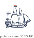 Old Wooden Ship with Red Flag Outline Illustration 35824401