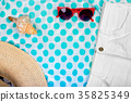 Straw Beach Woman's Hat Sun Glasses Top View 35825349
