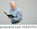 노인, 남자, 돋보기 35826703