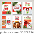 Realistic Turkey Christmas Banner Set 35827334