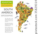 South America flora and fauna map, flat elements 35829314