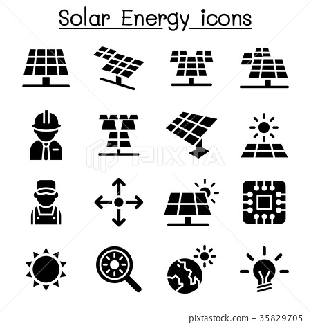 Solar energy industrial icon set 35829705