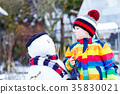 Funny kid boy in colorful clothes making a snowman 35830021