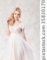 fashionable wedding dress, beautiful blonde model 35830170