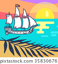 Seascape with Wooden Ship, Sandy Beach and Sunset 35830676