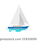 Yacht Sailboat with White Canvas on Water Surface 35830690