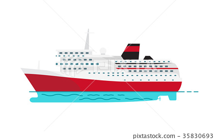 Spacious Luxury Cruise Liner and Big Red Steamer 35830693