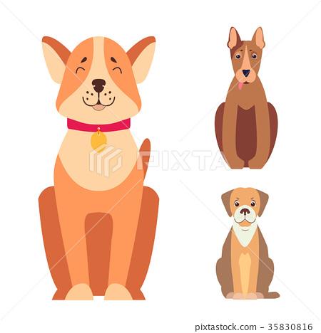 Cute Purebred Dogs Cartoon Flat Vectors Icons Set 35830816