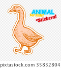 Farm animal goose in sketch style on colorful 35832804