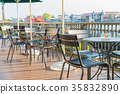 empty table and chair in cafe 35832890