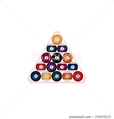 vector flat billiard ball pyramid in triangle 35835015