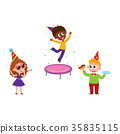 Kids jump, blow whistle, eat birthday cake 35835115
