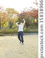 배드민턴 운동하는 노인, 건강한 노후생활 35838966