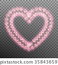 Glowing lamp heart isolated on transparent 35843659