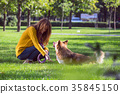 girl and dog 35845150