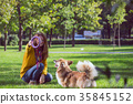 girl and dog 35845152