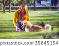 girl and dog 35845154
