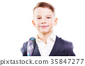 Happy schoolboy with backpack isolated on white 35847277