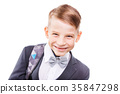 Happy schoolboy with backpack isolated on white 35847298