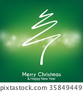 green abstract merry christmas tree line 35849449