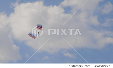 paratrooper descends on a parachute with the flag  35850957