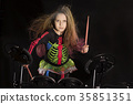 Little caucasian girl drummer with multicolored 35851351