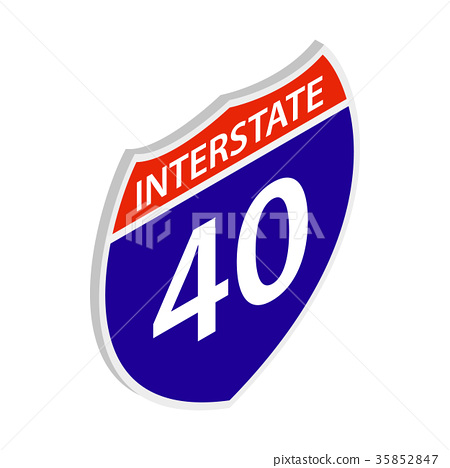 Interstate 40 sign icon, isometric 3d style 35852847