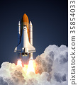 Space Shuttle Launch On Blue Background 35854033