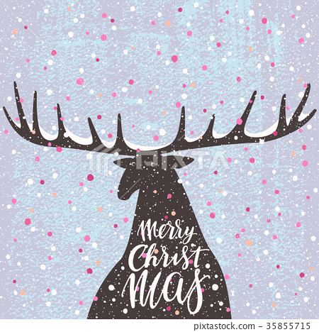 Merry Christmas vector greeting card with a deer 35855715
