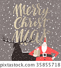 Winter holidays card with Santa and his reindeer 35855718