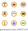 Home furniture icon set, cartoon style 35857114