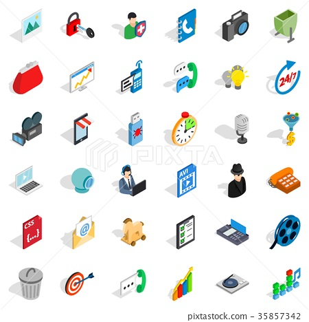 Web mobile icons set, isometric style 35857342