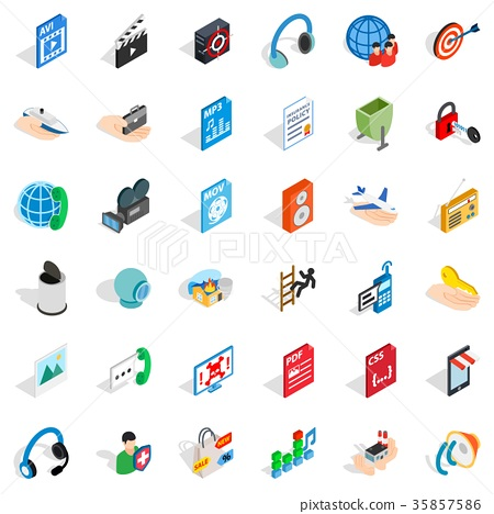 Web design icons set, isometric style 35857586