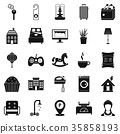 Small house for rest icons set, simple style 35858193