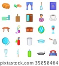 Boarding house icons set, cartoon style 35858464
