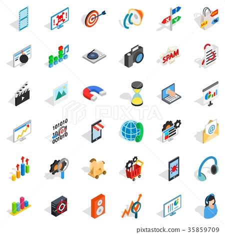 Web progress icons set, isometric style 35859709