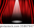 Red Stage with curtain. 35867947