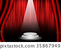 Red Stage with curtain. 35867949