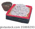 chilled soba noodles on dish, soba, steam-basket 35869293