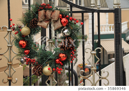 Christmas Wreath Hung On The Gate Of
