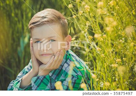 Handsome happy boy child enjoy posing summer 35875497