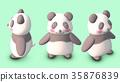 熊貓3D CG插畫素材正面傾斜3種圖案 35876839