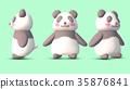 熊貓3D CG插圖素材前3個模式 35876841