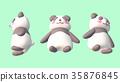 熊貓3D CG插圖材料前面3個模式從下面 35876845