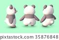 熊貓3D CG插圖材料3模式從後面 35876848